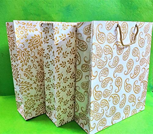 INDOGIFTS Handmade Paper Bags with Gold Screen Print Size 13.5 X 11 X 3.5 in, 220 GSM -Assorted Designs (Pack of 12)