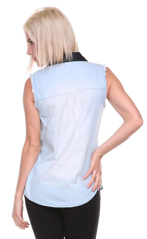 Stanzino@ Women's Sleeveless Denim Shirt
