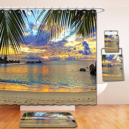 Nalahome Bath Suit: Showercurtain Bathrug Bathtowel Handtowel Seaside Decor Collection Sunset at Beach Rumbling Ocean Luxurious Resort with Palm Trees Travel Locations Picture Ivory - Metro Locations Fashion
