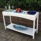 Wicker Warehouse Caribbean Serving Console Table with Frosted Glass Review