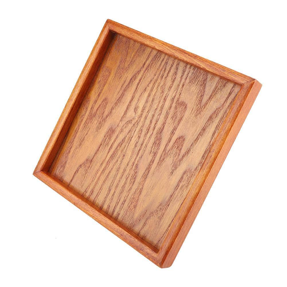 Duokon Vassoio da Portata Quadrato in Legno massello servire t/è al caff/è Antipasti di Sushi Colazione per Bar Ristorante Letto scrivania 12.5 * 12.5cm