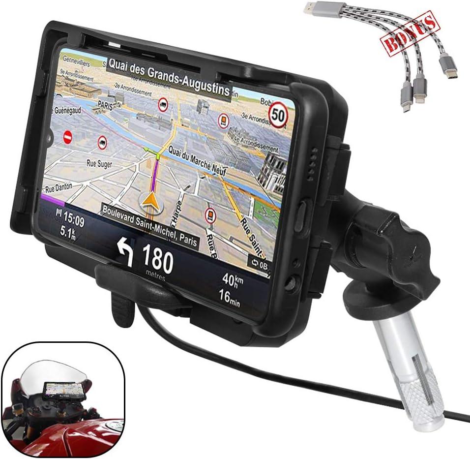 GUAIMI Support T/él/éphone Moto Support navigation de GPS 16-19MM avec chargeur rapide USB