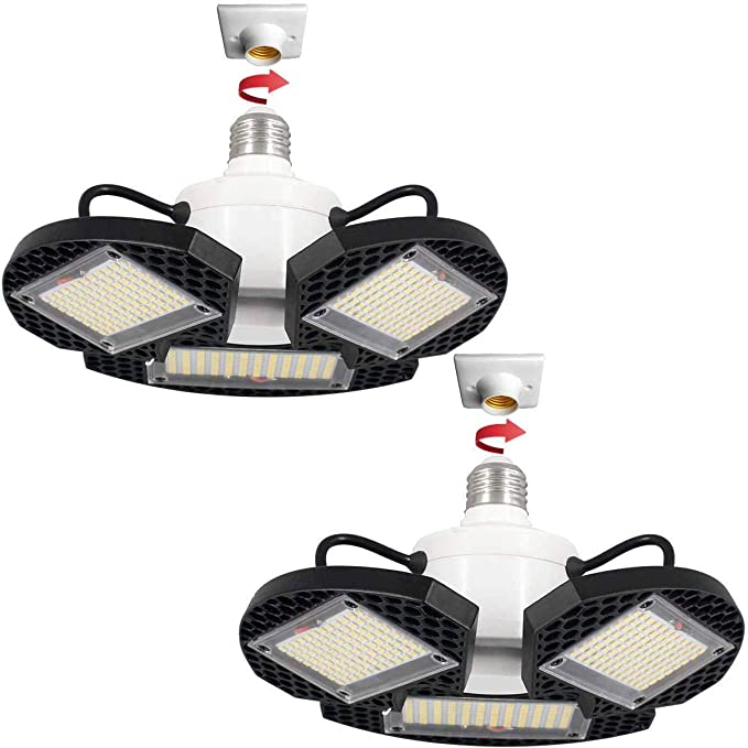 Amazon.com: 2Pack LED Garage Lights,100W Deformable LED Garage Ceiling Lights12500 LM CRI 80 Led Shop Lights for Garage, Garage Lights with 3 Adjustable Panels,Led Garage Lighting (No Motion Activated) 100W2PK: Home Improvement