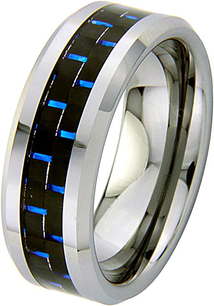 GoldenMine 6mm Carbon Fiber Inlay Tungsten Comfort-fit Wedding Band Ring Size 8 to 12