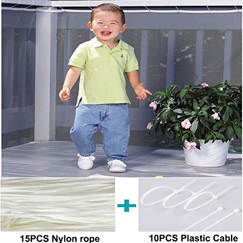 BcPowr 10ft L x 2.5ft H Child Safety Rail Net Stair Safety Netfor Stairway Balcony Banister Patio Mesh Net Protector for Baby, Child Safety; Pet Safety; Toy Safety.
