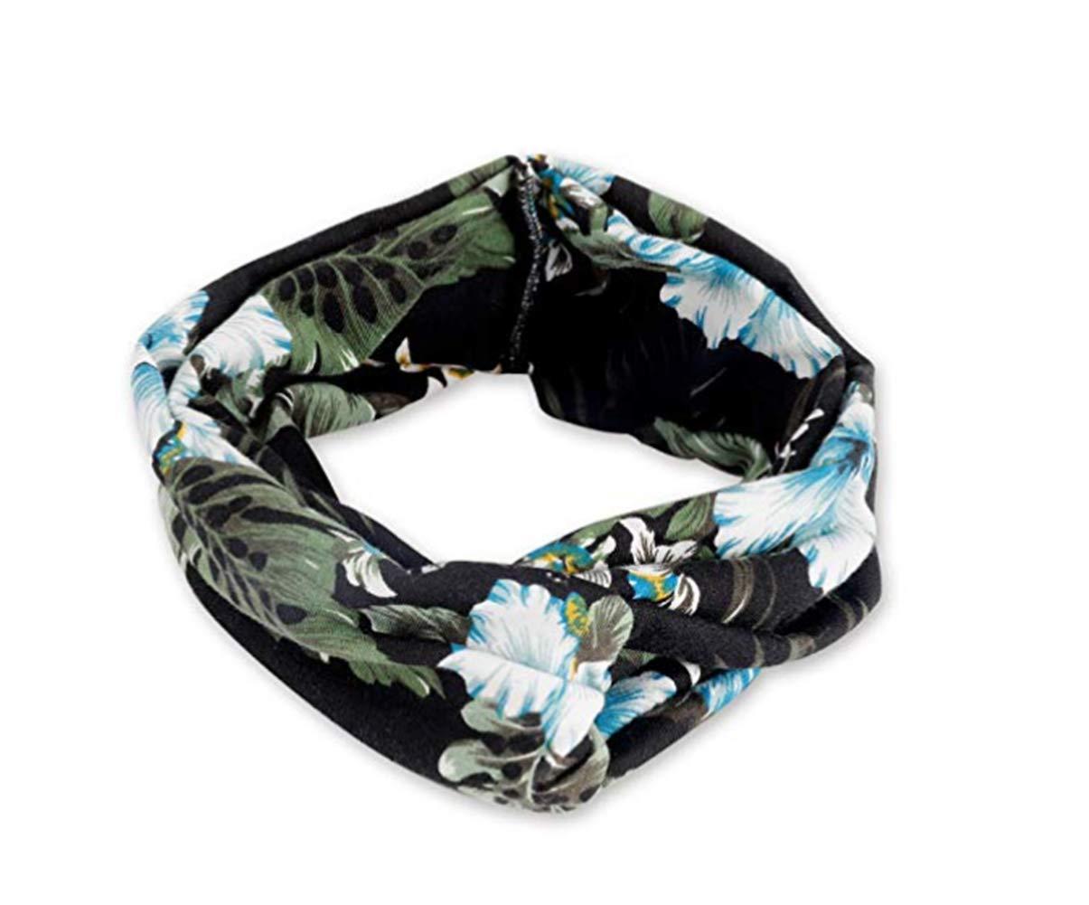 Women Boho Hair Headband Head Bands Floral Style Criss Cross Headbands for Women Beach Accessories (C)