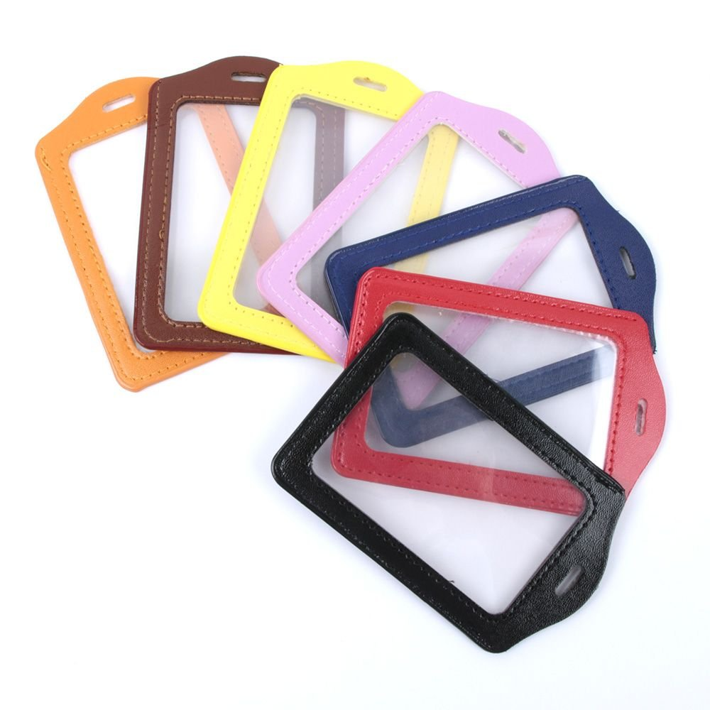 ISKYBOB Set of 14 Vertical Colorful Faux Leather Business ID Badge Card Holder, Not Included Neck Strap