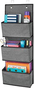 mDesign Soft Fabric Wall Mount/Over Door Hanging Storage Organizer - 3 Large Cascading Pockets - Holds Office Supplies, Planners, File Folders, Notebooks - Textured Print - Charcoal Gray/Black