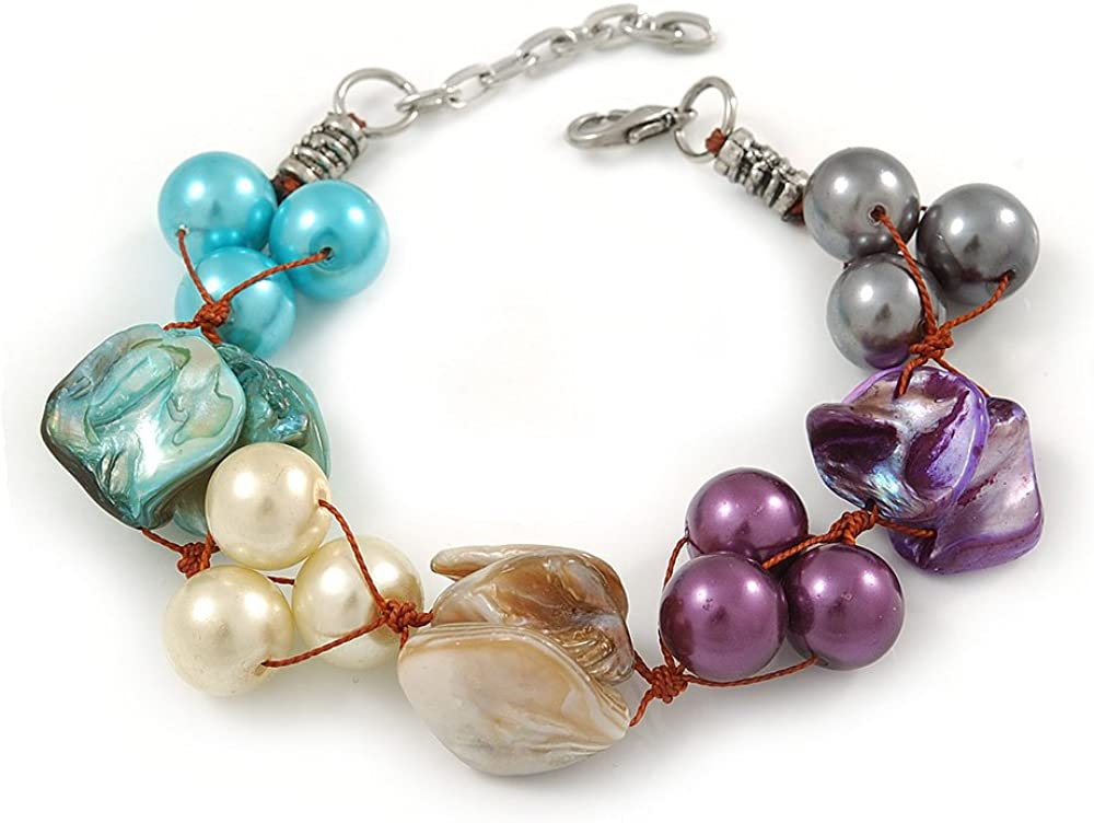 Avalaya - Pulsera de perlas de imitación multicolor (16 cm de largo, 3 cm de ancho, para muñecas más pequeñas