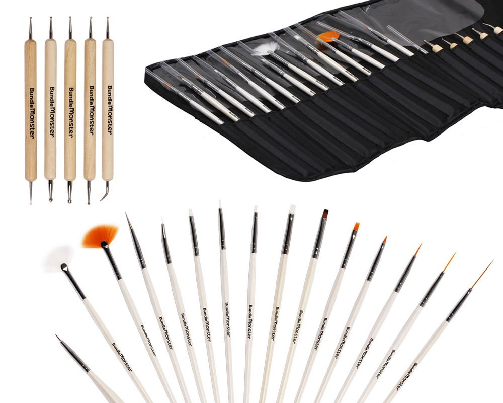 Amazon.com: BMC 20pc Nail Art Design Painting Brushes & Dotting Pen ...