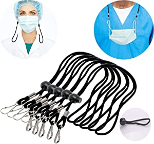 "12 Pcs HIGH Elasticity Lanyard for Mask, Adjustable Mask Hanger, 15.5"" Breakaway Lanyard Made of Elastic Rope and Metal Hook,Mask Lanyard with Clips for Kids & Adults to Hang Mask & Keys Black"
