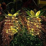 Bellaelegance Solar Garden Lights Outdoor Pineapple Solar Porch Lantern Decor Landscape Lights Waterproof Outdoor LED Solar Lantern Auto On/Off for Yard Garden Party Activities Decor (Pack of 2)