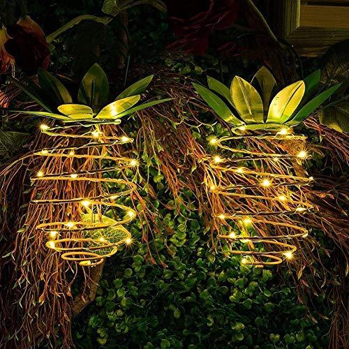 Bellaelegance Solar Garden Lights Outdoor Pineapple Lantern Porch Decor Landscape Lights Waterproof Outdoor LED Solar Lantern Auto On/Off for Yard Garden Party Activities Decor (Pack of 2) (Auto Lantern)