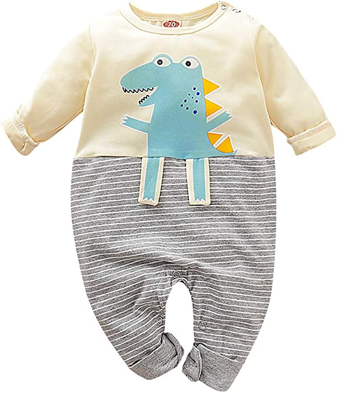 UK Infant Newborn Baby Girls Boys Dinosaurs Jumpsuit Romper Playsuit Bodysuit