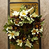 Decorative Seasonal Front Door Wreath Best Seller - Handcrafted Wreath for Outdoor Display in Fall, Winter, Spring, and Summer 13 inches (White + coffee color)