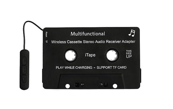 iTape cassette adaptador coche Bluetooth trabajo mientras se carga soporte tarjeta TF CSR Bluetooth V4.1 + EDR receptor audio estéreo adaptador para coche: ...