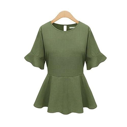 Haroty Las Mujeres Blusas Pullover Camisa de Gasa Slim Fit Cintura Ajustada Manga Corta Ocasionales Sólido Color con Volantes
