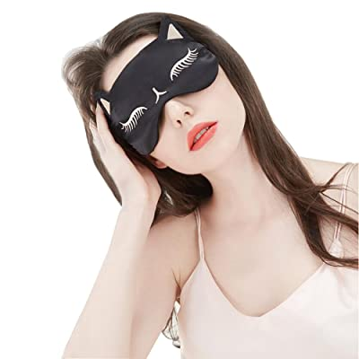Cat Eye Mask Natural Silk Sleep Mask by Drizzle Smooth and Soft Eye Covers for Sleeping (Black)