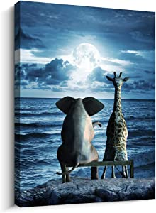 Canvas Wall Art For Bedroom Wall Decor For Living Room Modern Family Bathroom Canvas Art Animal Elephant Abstract Pictures Blue Ocean Wall Artwork Office Wall Painting Ready To Hang Home Decorations