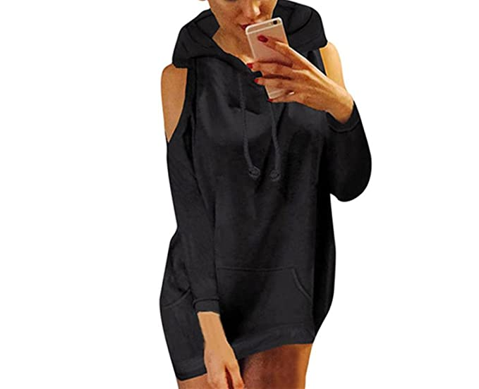 2bf7fb8f344 Sexy Cold Shoulder Pullover Hoodie Sweatshirt Long Sleeve for Women by  BSGSH (S