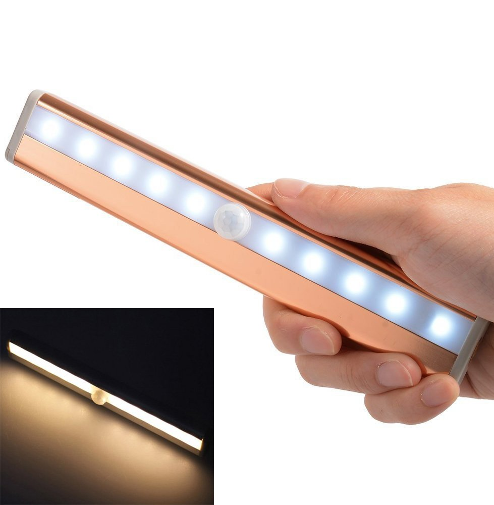 Automatic Wireless 10 LED Human body infrared Motion Sensor Closet Light Stick-on Anywhere Portable Cabinet LED Night Light (Battery Operated)