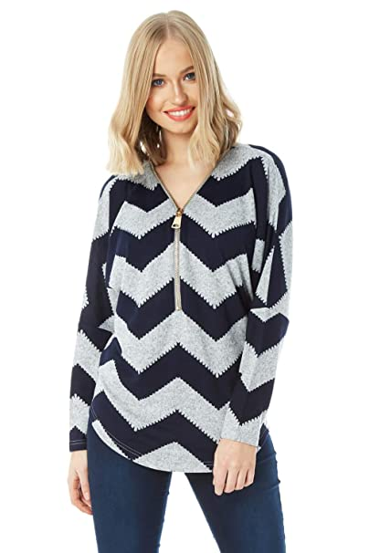81256449c92cb Roman Originals Zig Zag Zip Front Top - Ladies Patterned Tops Long Sleeves  Casual Everyday Evening Formal Going Out Work Wear Zipped Detail Tops  ...