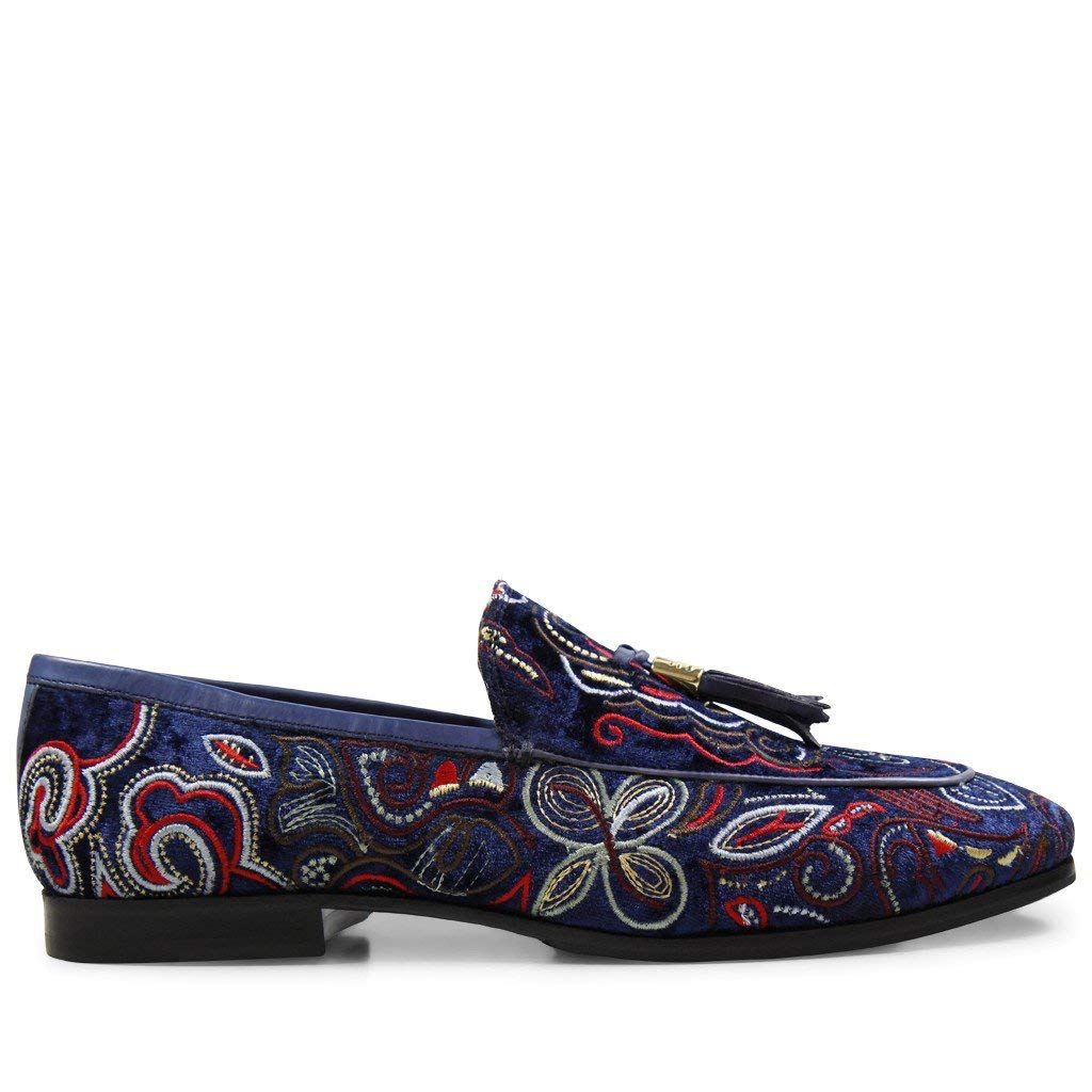 MELVIN & HAMILTON MH HAND MADE Schuhe OF CLASS Clive Embrodery 3 Velvet Navy Tassel Embrodery Clive HRS 44 26c584