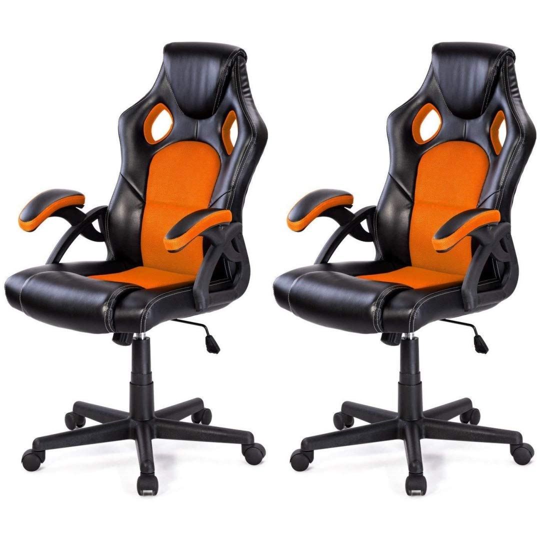 Modern Style High Back Racing Style Gaming Chairs Thick Padded Seat PU Leather Upholstery Adjustable Reclining Tilt Home School Office Furniture - Set of 2 Orange #2126 by KLS14