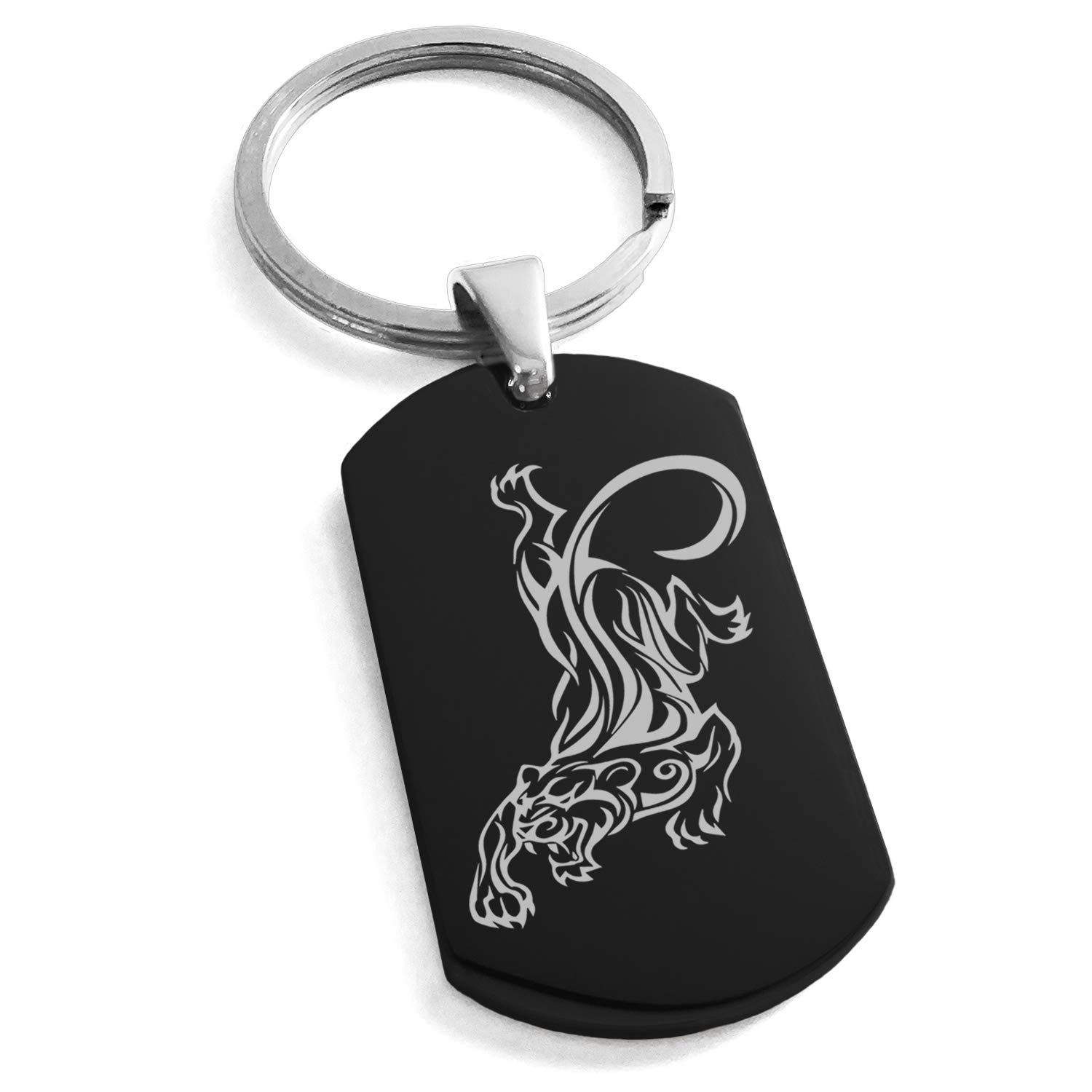 Black Stainless Steel Striking Tiger Engraved Dog Tag Keychain Keyring