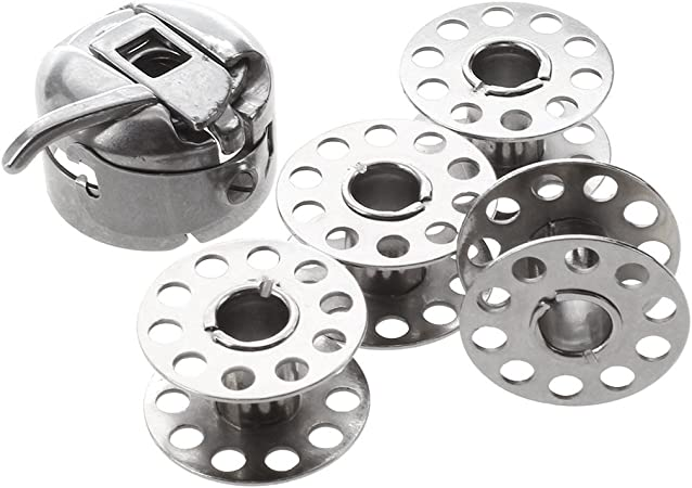 WOVELOT - Estuche de Bobina para máquina de Coser doméstica + 4 bobinas se ajustarán, Janome, Singer + más: Amazon.es: Hogar