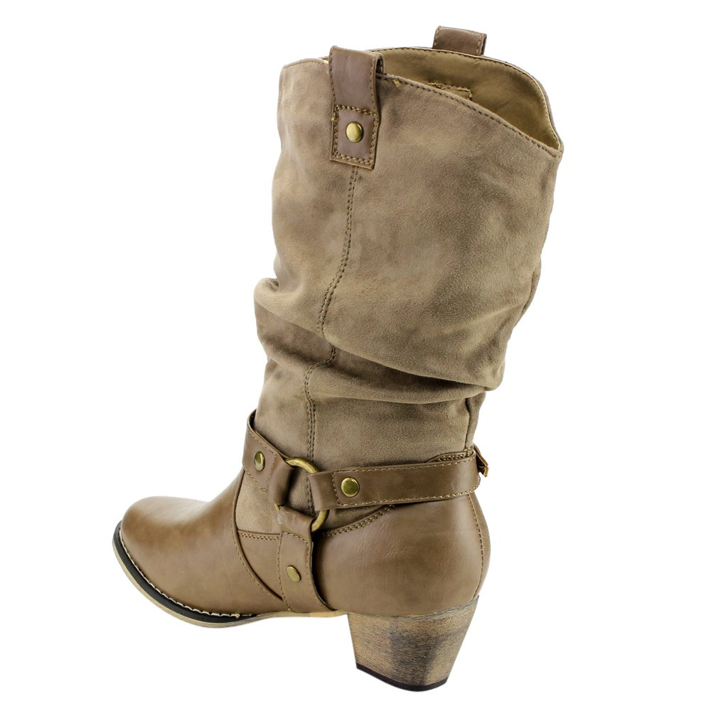 Size:6 Color:TAUPE Refresh AD44 Womens Western Cowgirl Pull On Block Heel Slouchy Mid Calf Boots