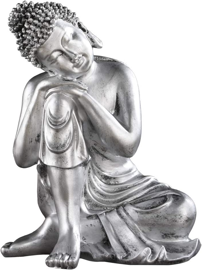 8.9in (H) Resin Napping Buddha Statue Sliver Prosperity Buddha Figurine Home Decor ZY001
