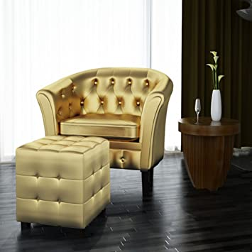 SKB Family Artificial Leather Tub Chair Armchair With Footrest Gold Century  Style Lounge