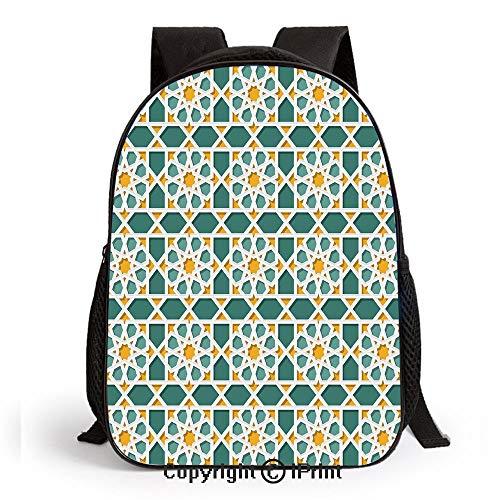 Baby Toddler Kids Print Backpack Moroccan Interlacing Star Pattern Ethnic Asian Ornamental Mosaic Design Traditional Schoolbag Shoulder Bag for Kindergarten,Teal Marigold