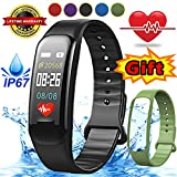iGeeKid Fitness Tracker with Heart Rate Sleep Monitor Bluetooth Pedometer Smart Bracelet Watch IP67 Waterproof Smartband Activity Tracker Wristband Gifts for Android iOS Phone (black)