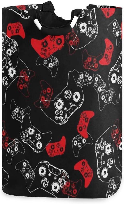 Laundry Hamper Basket Storage Bag Foldable Clothes Bag Video Game Red On Black Folding Washing Bin Clothes Hamper Large Basket