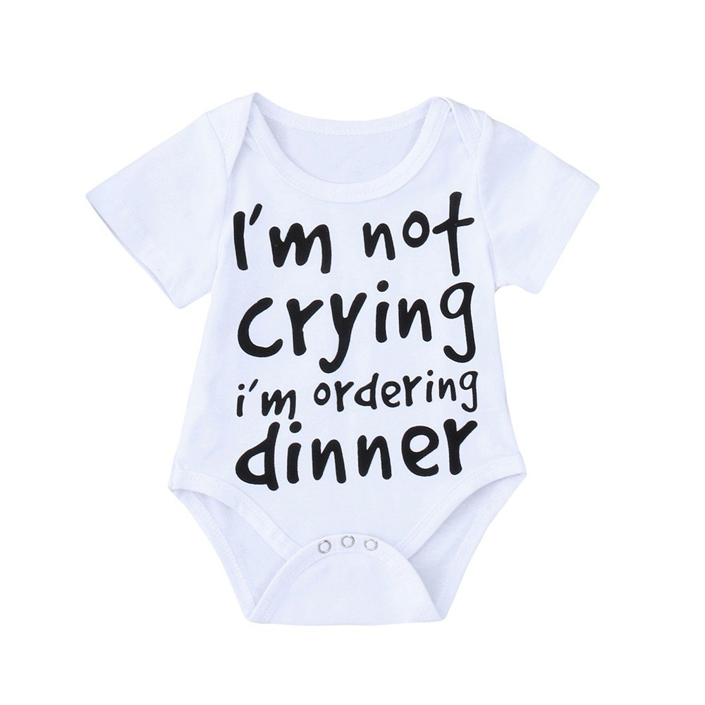Proumy Hot!Newborn Baby Boys Letter Print Romper Jumpsuit Clothes White)
