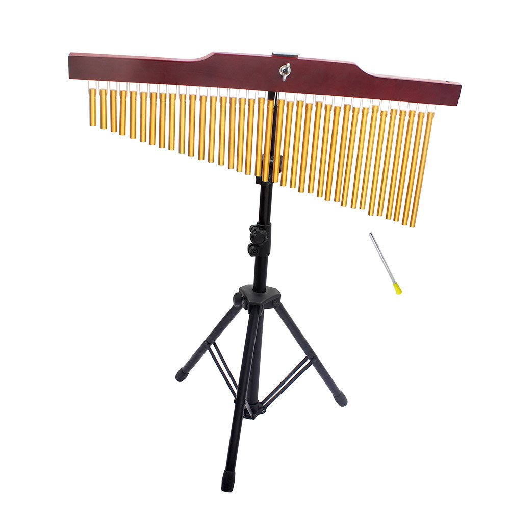 ammoon 36-Tone Golden Bar Chimes 36 Bars Single-row Wind Chime Musical Percussion Instrument with Tripod Stand and Striker