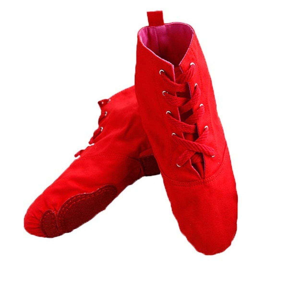 Wxmddn Zapatos de Danza Alto-Top de Lona con Cordones de los Zapatos de Jazz Suave Zapatos de Baile de Jazz Adulto Inferiores practican Botas de los Zapatos de Interior