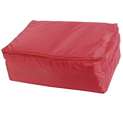 uxcell Oxford Cloth Home Storage Waterproof Dustproof Zipper Quilt Bag 55 x 35 x 20cm Red