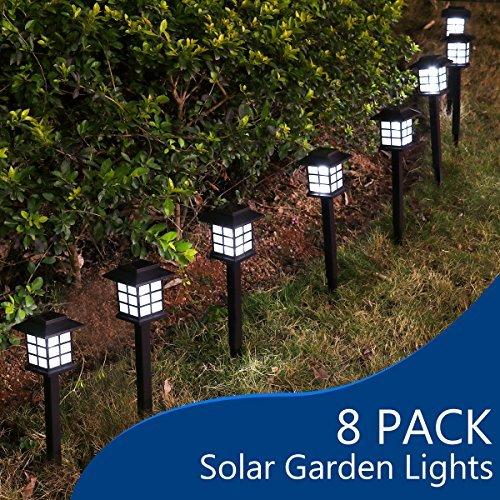 YUNLIGHTS 8pcs Garden Solar Lights Outdoor Solar Pathway Lights Waterproof Solar Landscape Lights for Garden, Path, Yard, Patio, Driveway, Walkway, Lawn - White