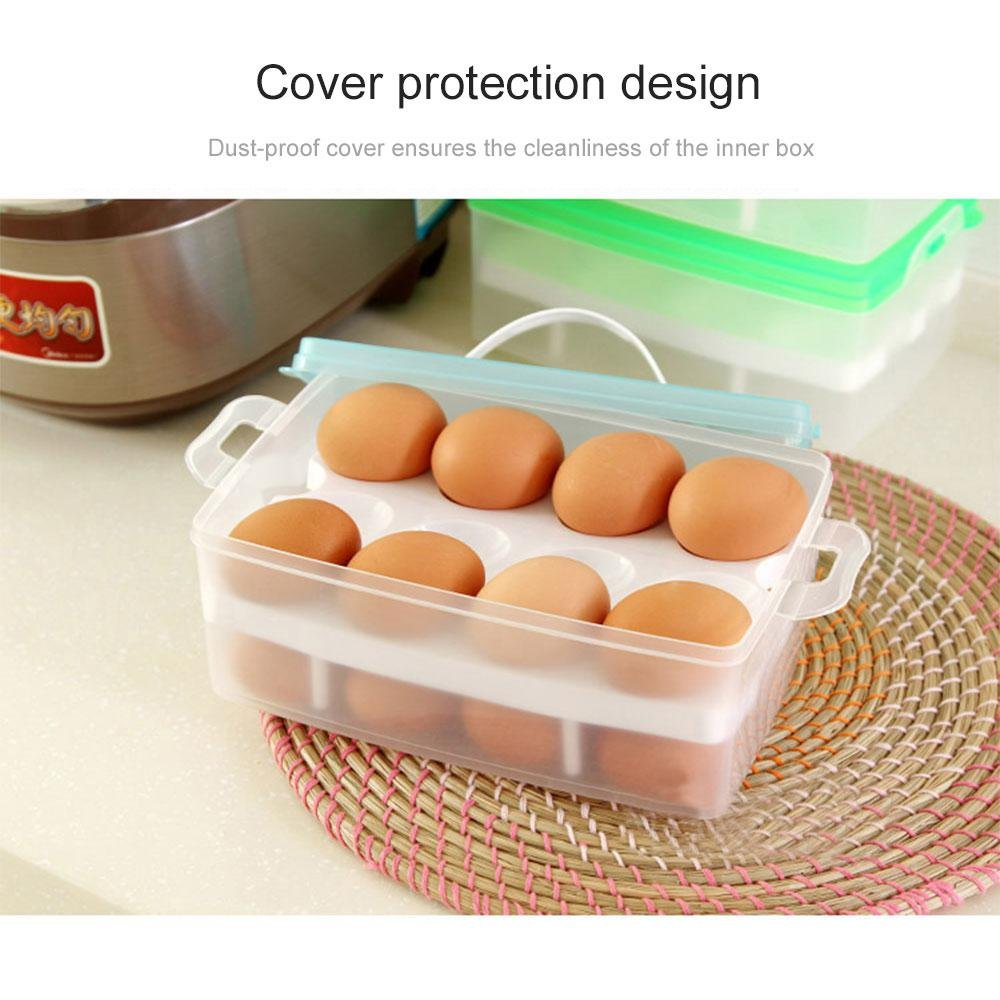 Leegoal Egg Container, Portable 2 Tiers 24 Eggs Large Capacity Deviled Egg Holder Carrier Dispenser, Anti-slip Egg Tray with Handle for Kitchen/Refrigerator/Camping