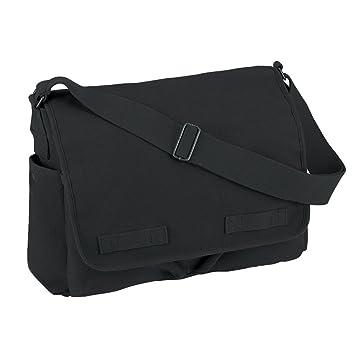 Amazon.com: Vintage Style Unwashed Canvas Messenger Bag Black ...