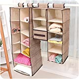 szwanhuixing Home Hanging Clothes Storage Box (5 Shelving Units) Friendly Closet Cubby, Sweater & Handbag Organizer - Keep Your Wardrobe Clean & Tidy. Easy Mount