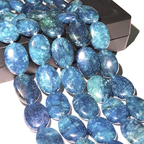 ([ABCgems] Rare Brazilian Blue Apatite (Exquisite Color) 13X18mm Smooth Oval Beads for Beading & Jewelry Making)