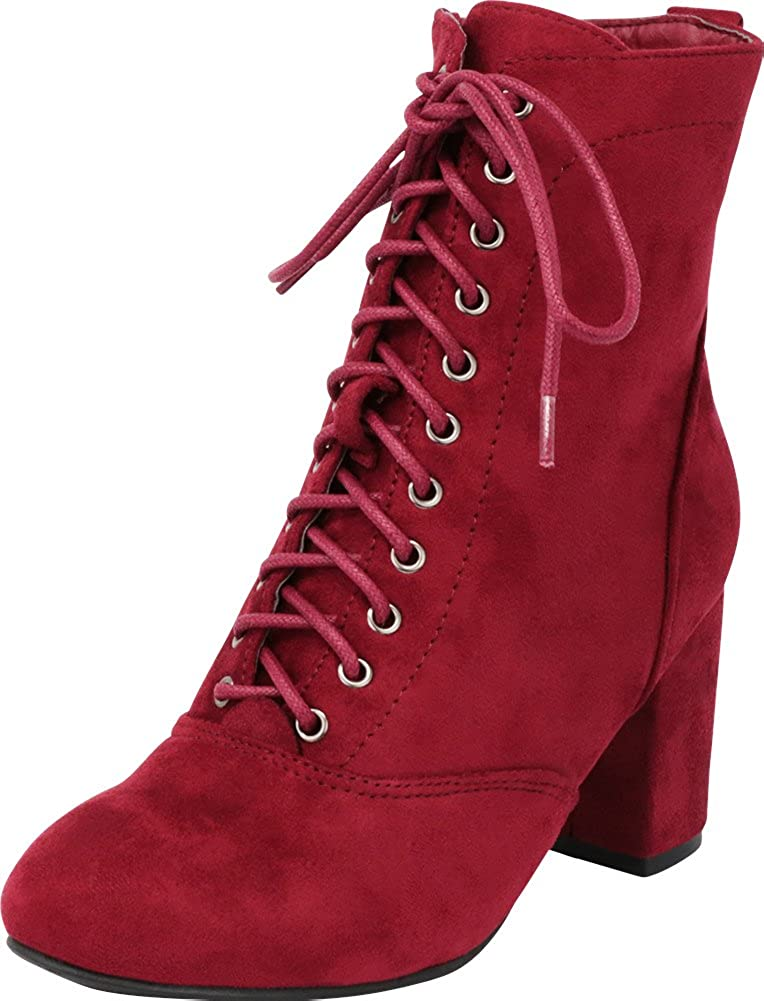 120606f87eb Cambridge Select Women's Lace-up Chunky Block Heel Victorian Ankle Bootie