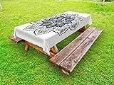 Ambesonne Lotus Outdoor Tablecloth, Ethnic Mandala Asian Style Spiritual Meditation Yoga Culture Bohemian Image, Decorative Washable Picnic Table Cloth, 58 X 120 inches, Indigo Grey White