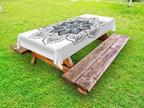 Ambesonne Lotus Outdoor Tablecloth, Ethnic Mandala Asian Style Spiritual Meditation Yoga Culture Bohemian Image, Decorative Washable Picnic Table Cloth, 58 X 120 inches, Indigo Grey White by Ambesonne