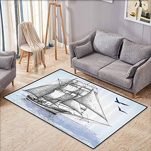Inner Door Rug Nautical Vector Sketch Sailboat on Sea with Bird Retro Drawing Marine Theme Print Light Blue and Black Non-Slip Door mat pad Machine can be Washed W4'9 xL3'9