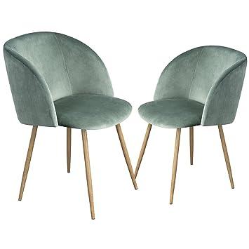 DORAFAIR Pack de 2 Sillas de Comedor Soft Retro Velvet Cushion en Estilo Retro escandinavo,sillón con el Estilo de Madera Patas de Metal Resistente, ...